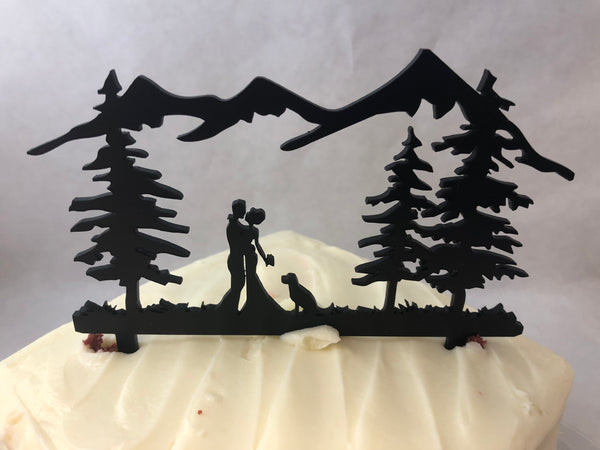 Cake Topper Wedding Couple Outdoors With Dog. Dog Cake Topper. - C & A Engraving and Gifts