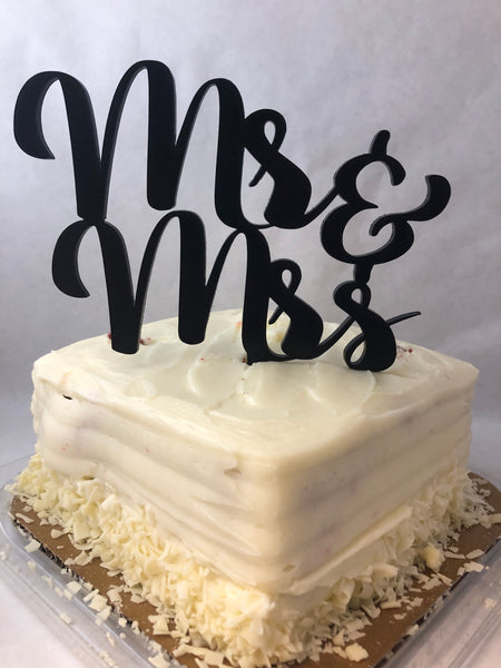 Cake Topper Mr and Mrs Script. Wedding Cake Decoration. - C & A Engraving and Gifts