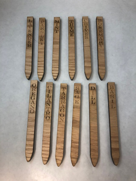 Herb Garden Wooden Markers Set of 12 - C & A Engraving and Gifts