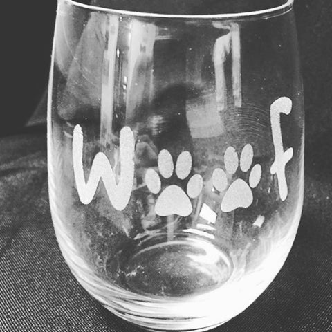 Stemless Wine Glass with Paw Prints and Woof - C & A Engraving and Gifts