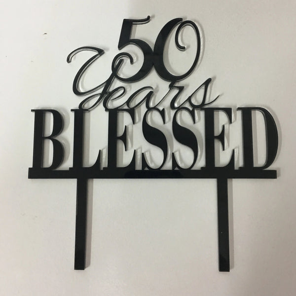 Cake Topper 50th Wedding Anniversary. Wedding Anniversary Cake Decoration. - C & A Engraving and Gifts