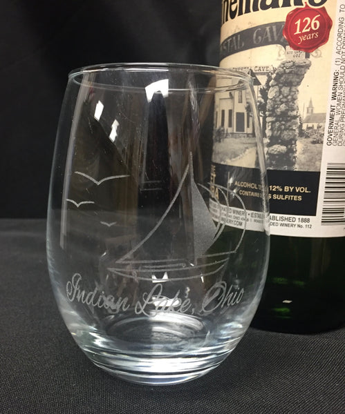 Indian Lake Stemless Sailboat Wine Glass - C & A Engraving and Gifts