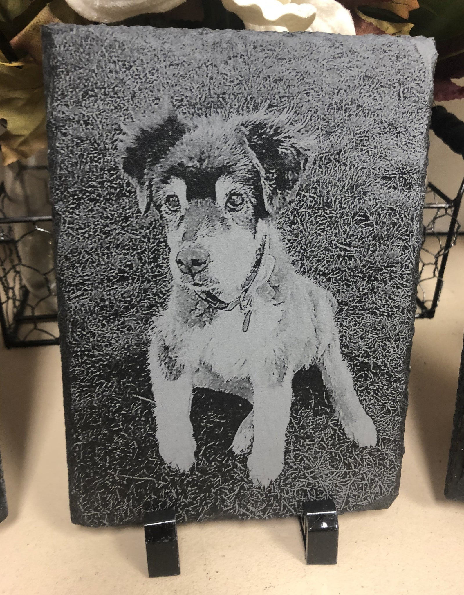 Photo Engraved Slate. Photo Transfer Onto Slate with Easel. - C & A Engraving and Gifts