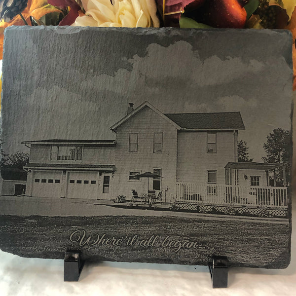 Photo Engraved Slate with Easel. - C & A Engraving and Gifts