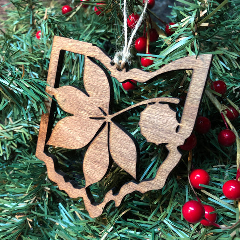 State of Ohio Christmas Ornament. Wooden Buckeye Leaf Ornament. - C & A Engraving and Gifts