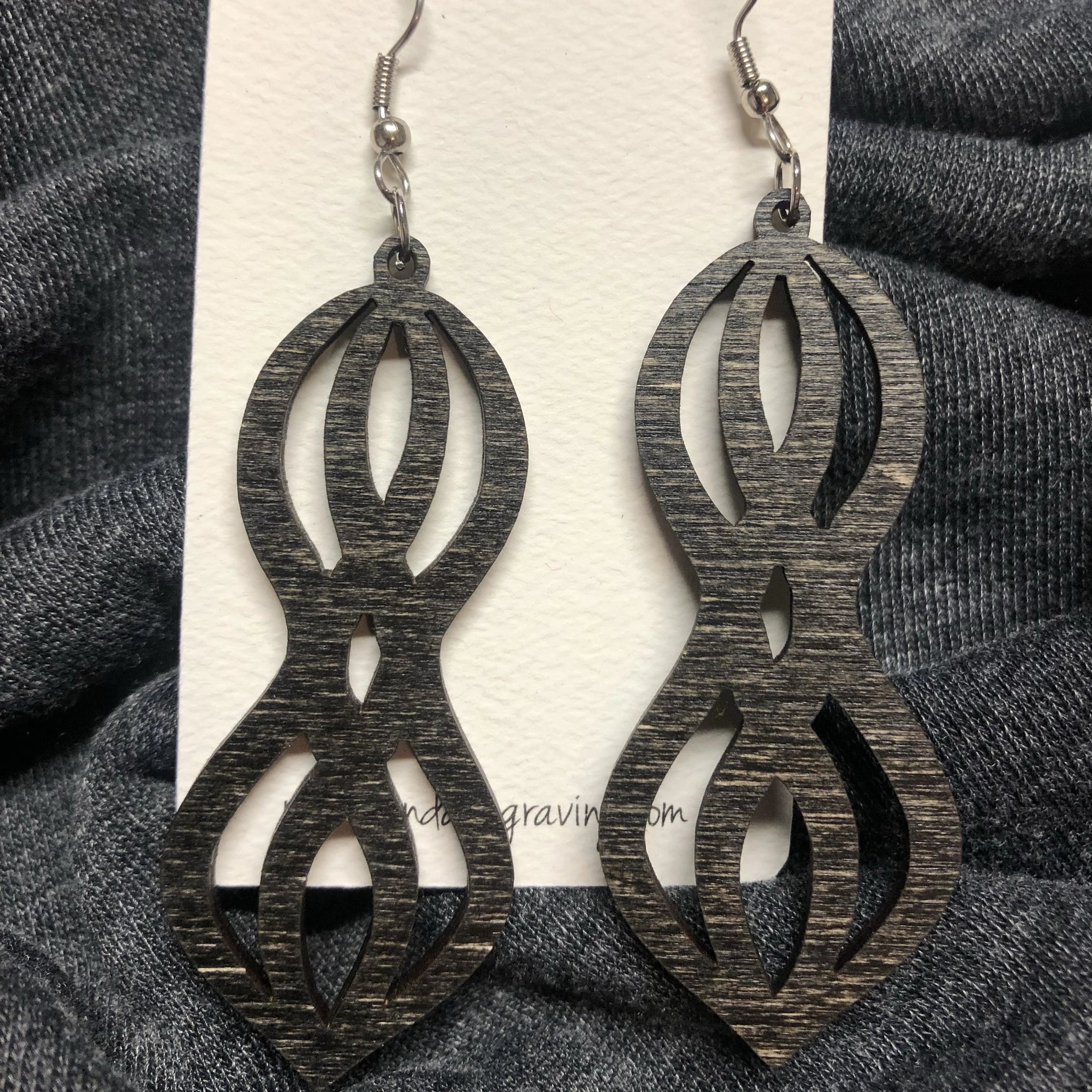 Wooden Double Stacked Dangle Earrings. Stained Birch Wood Laser Cut Earrings. - C & A Engraving and Gifts