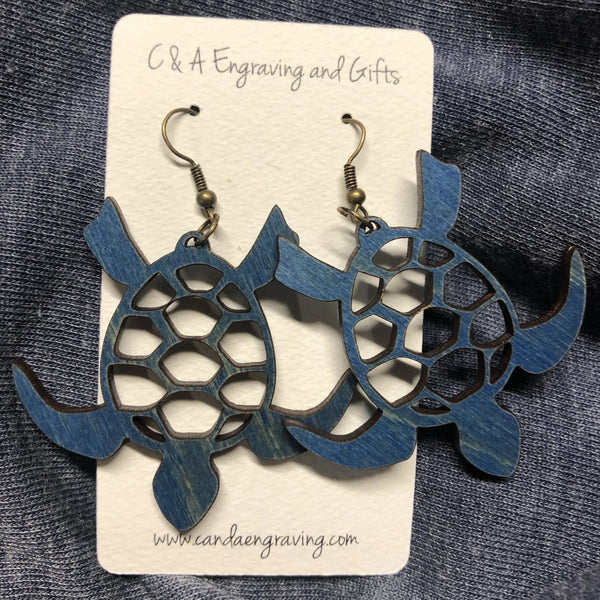 Wooden Turtle Dangle Earrings. Stained Birch Wood Laser Cut Earrings. - C & A Engraving and Gifts