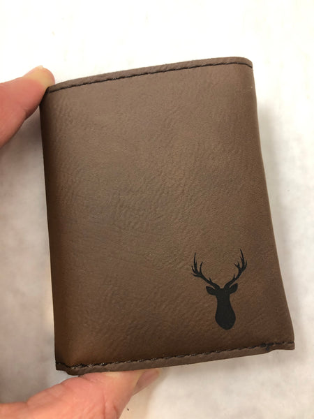 Personalized Mens Wallet. Engraved Tri-fold Leatherette Wallets.