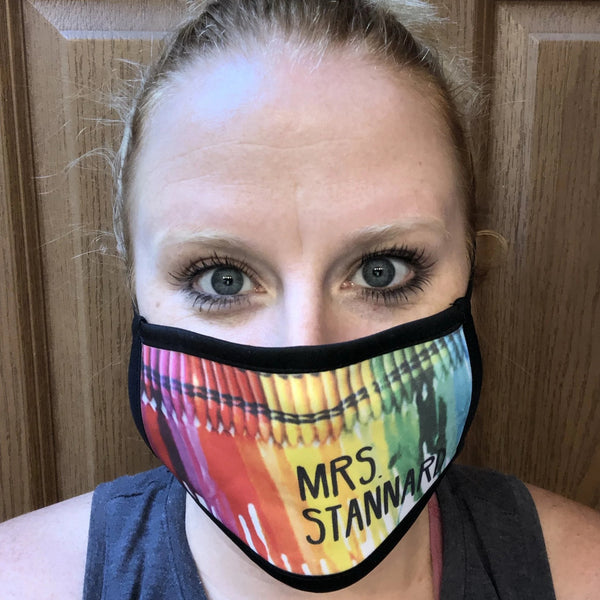 Personalized Teacher Face Mask. Classroom Teacher Face Covering. Crayon Face Mask. - C & A Engraving and Gifts