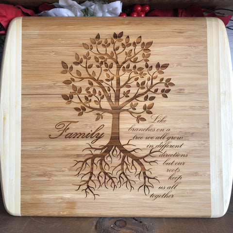 Engraved Bamboo Cutting Board with Family Tree Roots - C & A Engraving and Gifts