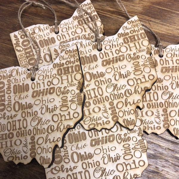 Ohio State Shape Wooden Ornament. Engraved Ohio Ornament. - C & A Engraving and Gifts