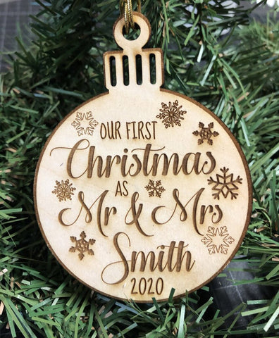 Our First Christmas Ornament. Engraved Wooden Mr and Mrs Ornament. - C & A Engraving and Gifts