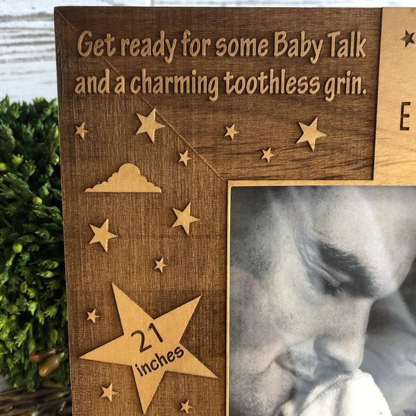 Newborn Picture Frame. New Parents Photo Frame. New Baby Announcement Photo Frame. - C & A Engraving and Gifts