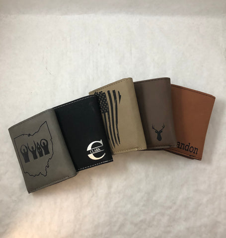 Personalized Mens Wallet. Engraved Tri-fold Leatherette Wallets. - C & A Engraving and Gifts