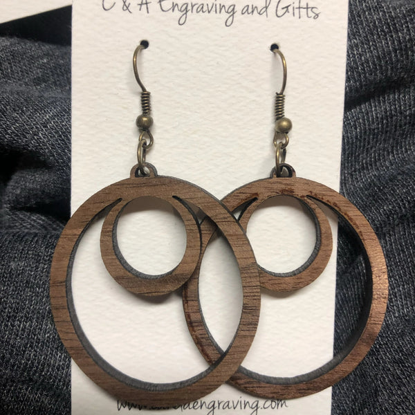 Wooden Hoop Dangle Earrings. Stained Birch Wood Laser Cut Earrings. - C & A Engraving and Gifts