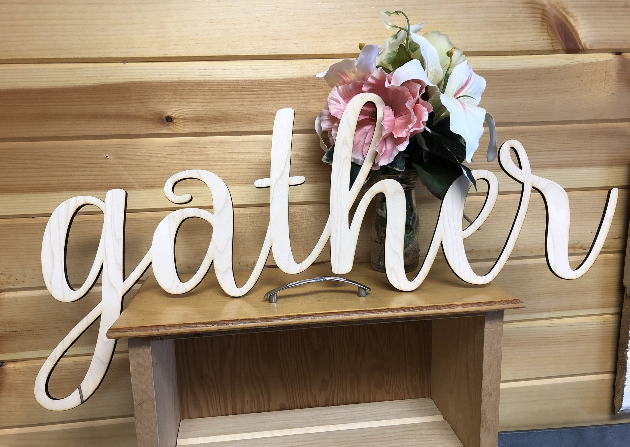 Gather Words. Gather Wall Decor. Wooden Gather Cut Out. Gather Sign. - C & A Engraving and Gifts