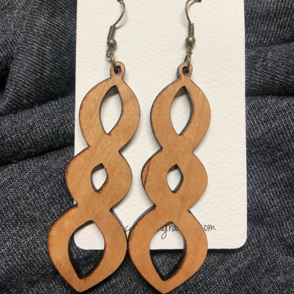 Wooden Triple Oval Dangle Earrings. Stained Birch Wood Laser Cut Earrings. - C & A Engraving and Gifts