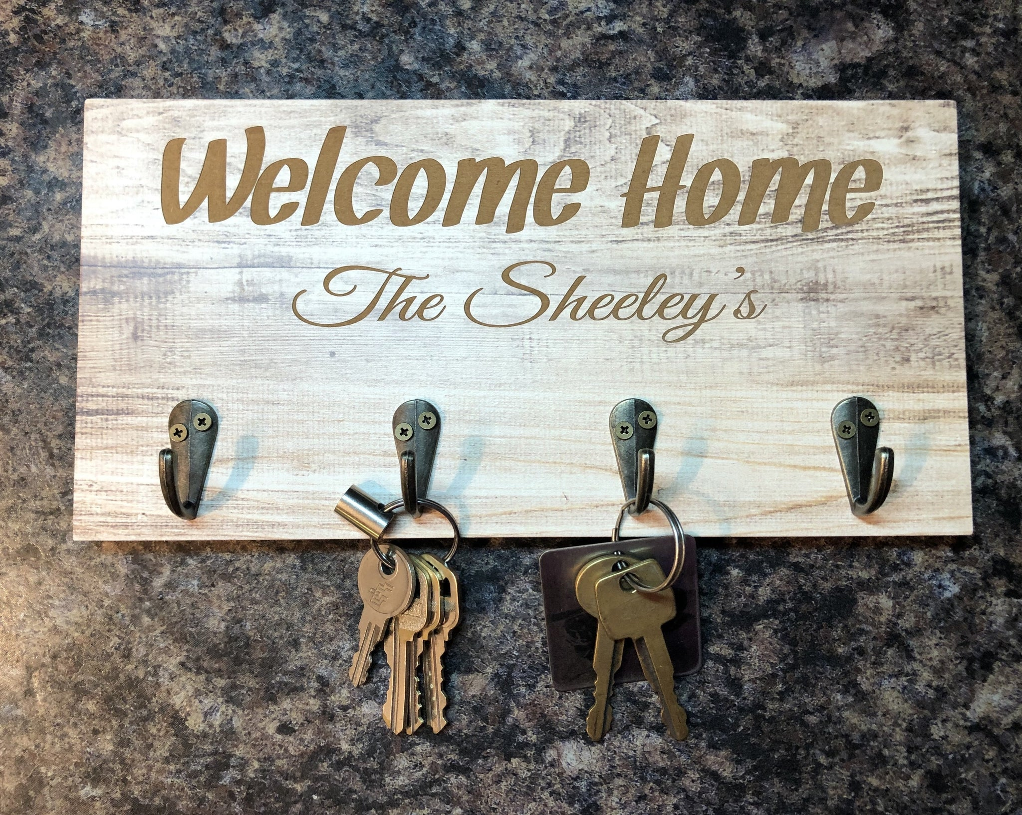 Personalized Engraved Keyholder. Realtor Gift. Rustic Keyholder For The Entryway. - C & A Engraving and Gifts