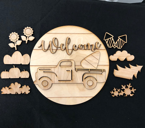 Shiplap DIY Rustic Truck Wooden Sign. Old Truck Interchangeable Farmhouse Decor. Paint It Yourself. - C & A Engraving and Gifts