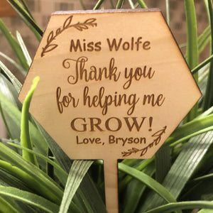 Teacher Planter Picks. Thank You For Helping Me Grow. - C & A Engraving and Gifts
