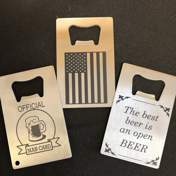 Engraved Credit Card Bottle Opener. Man Card Bottle Opener. Flag Credit Card Bottle Opener.