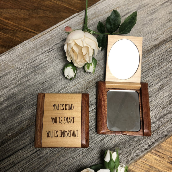 Compact Wooden Mirror. Flip Open Engraved Mirror. Mom Gift. Teen Gift. - C & A Engraving and Gifts