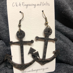Wooden Anchor Dangle Earrings. Stained Birch Wood Laser Cut Earrings. - C & A Engraving and Gifts