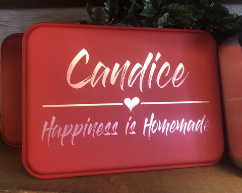 Personalized Cake Pan with Lid. Happiness is Homemade Design. - C & A Engraving and Gifts