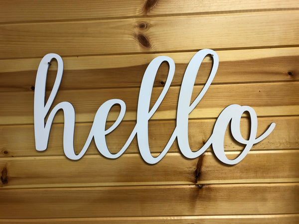 Hello Words. Hello Wall Decor Wood Cut Out. Hello Sign. - C & A Engraving and Gifts