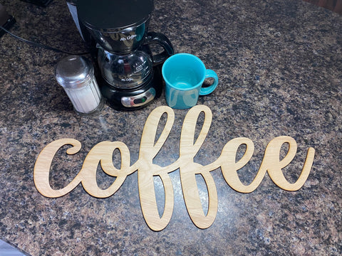 Coffee Words. Coffee Bar Decor. Wooden Coffee Cut Out. Coffee Sign.