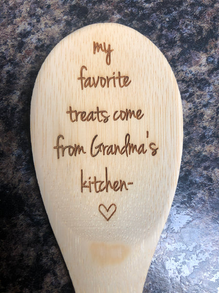 Grandma Wooden Engraved Spoon. Grammy's Kitchen Spoon. - C & A Engraving and Gifts