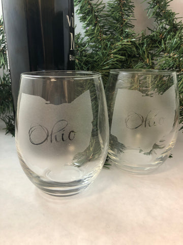 Stemless Wine Glass Engraved with Ohio state shape or Ohio Script. Ohio Wine Glass. - C & A Engraving and Gifts