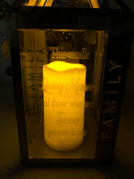 Family Rose Colored Lantern Memorial. In Memory of Lighted Engraved Lantern. - C & A Engraving and Gifts