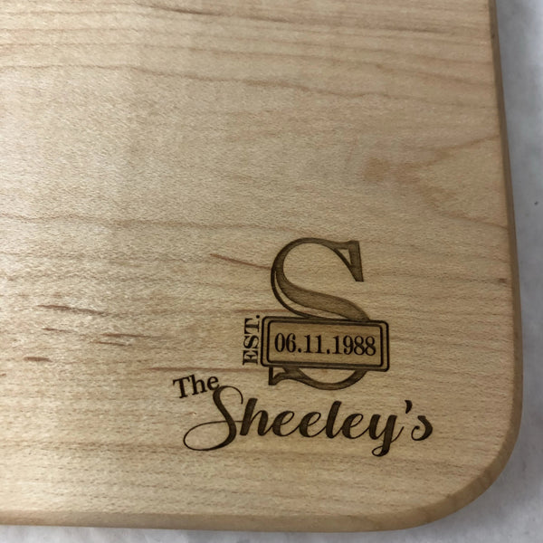 Cheese Cutting Board. Personalized Wedding or Anniversary Cutting Board. - C & A Engraving and Gifts