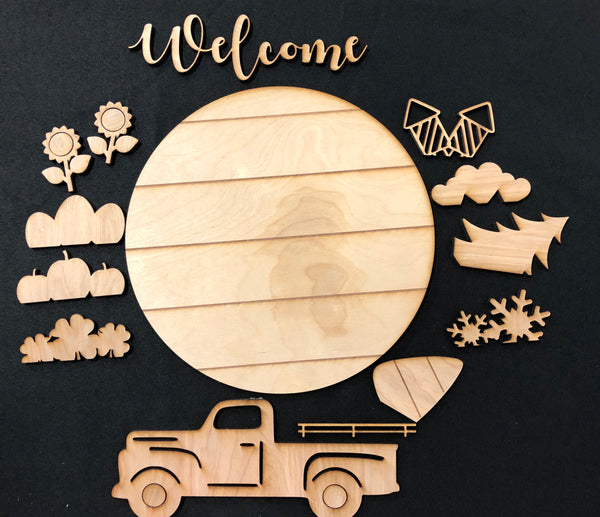 Shiplap DIY Rustic Truck Wooden Sign. Old Truck Interchangeable Farmhouse Decor. Paint It Yourself.