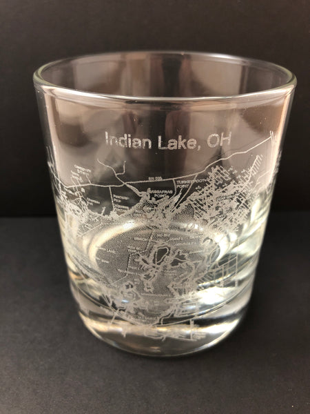Indian Lake Map Engraved Whiskey Glass. - C & A Engraving and Gifts