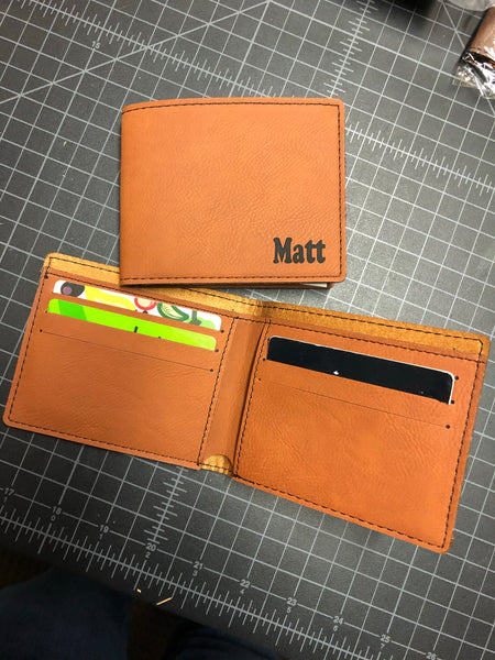Personalized Engraved Mens Wallet. Groomsman Gift. Mens Bi-fold Slim Wallet. - C & A Engraving and Gifts