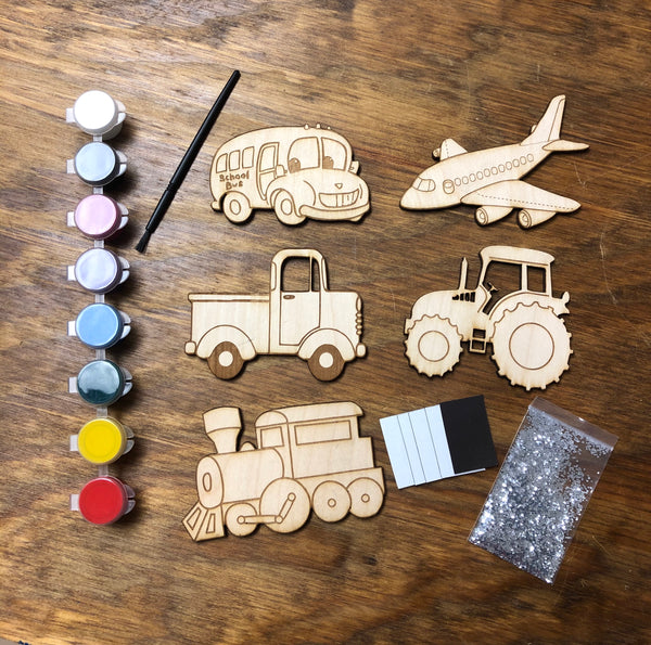 Kids Wooden Painted Magnet Kits. Do It Yourself Engraved Magnet Kits. - C & A Engraving and Gifts