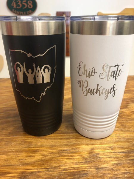 Ohio Engraved Tumbler. O-H-I-O People or Ohio Script Cup. - C & A Engraving and Gifts
