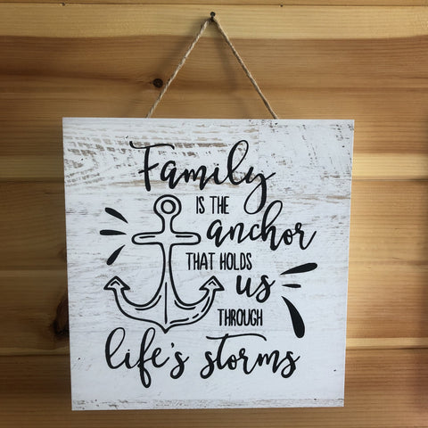 Family Anchor Wooden Sign - C & A Engraving and Gifts