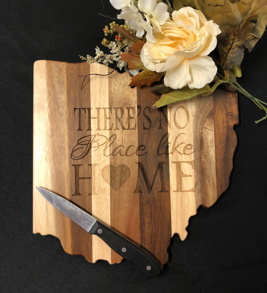 Ohio State Shape Shiplap Cutting Board. Engraved Realtor Gift. Home Sweet Home. - C & A Engraving and Gifts