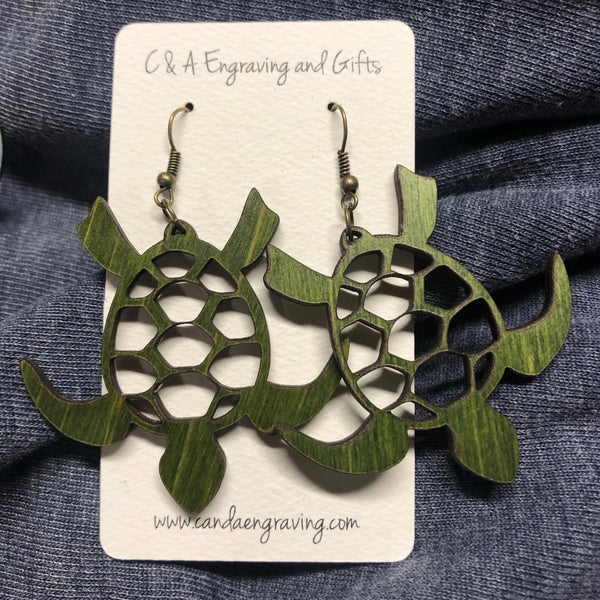 Wooden Turtle Dangle Earrings. Stained Birch Wood Laser Cut Earrings.