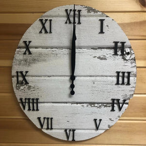 Barn Siding Round Clock. Rustic Clock. Chipped Paint Clock. - C & A Engraving and Gifts
