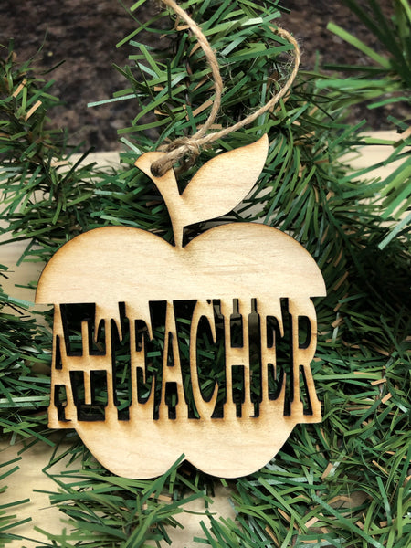 Teacher Ornament Wooden. Pencil Ornament. Apple Teacher Ornament. Teacher Christmas Ornament. - C & A Engraving and Gifts