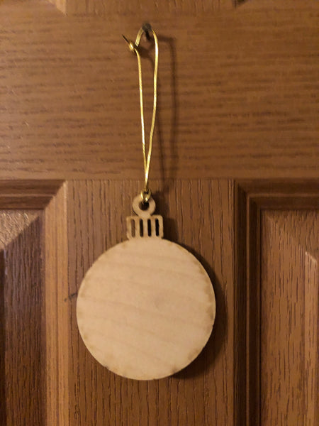 Our First Christmas Ornament. Engraved Wooden Mr and Mrs Ornament.