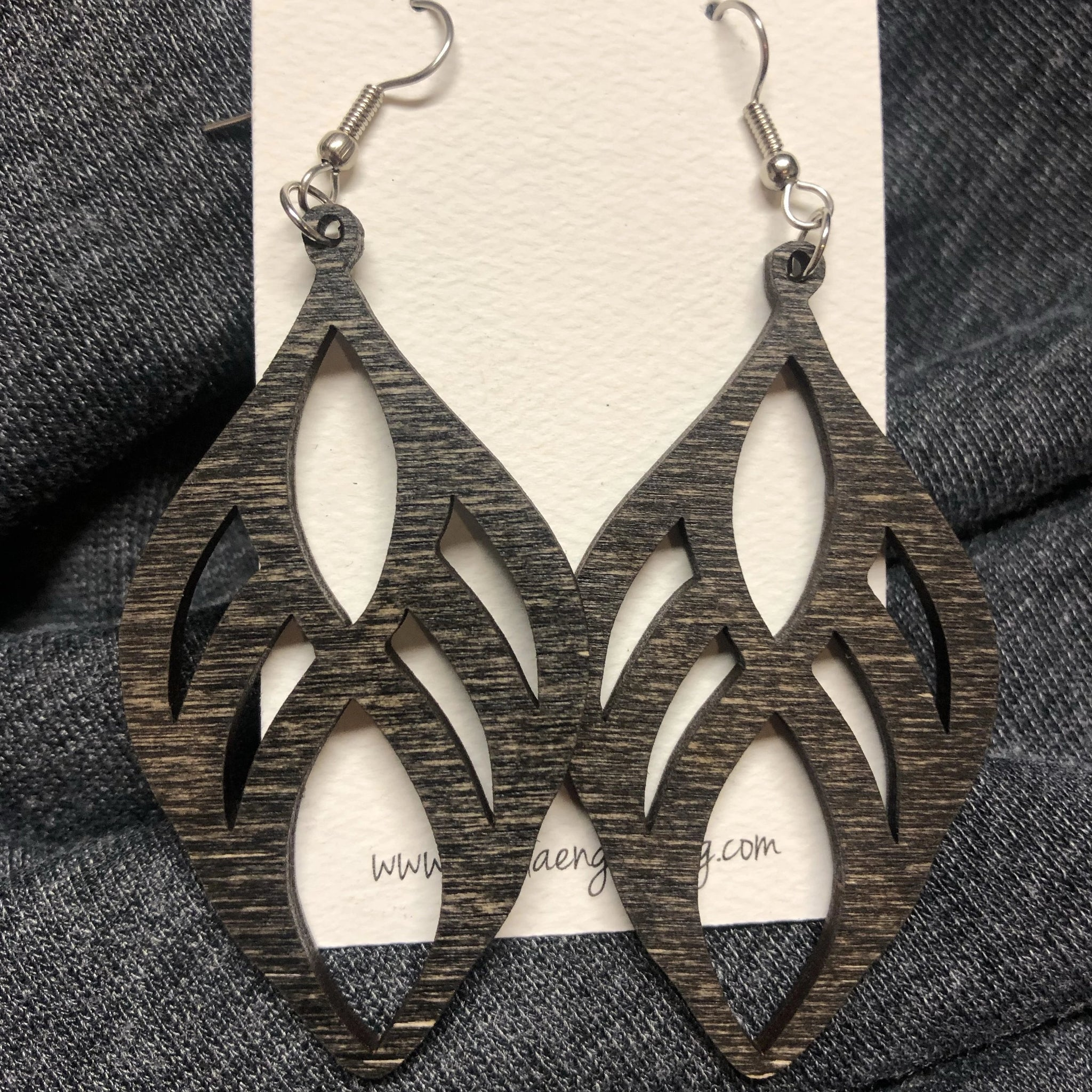 Wooden Teardrop Dangle Earrings. Stained Birch Wood Laser Cut Earrings. - C & A Engraving and Gifts