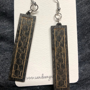 Wooden Bar Dangle Earrings. Stained Birch Wood Laser Cut Earrings. - C & A Engraving and Gifts