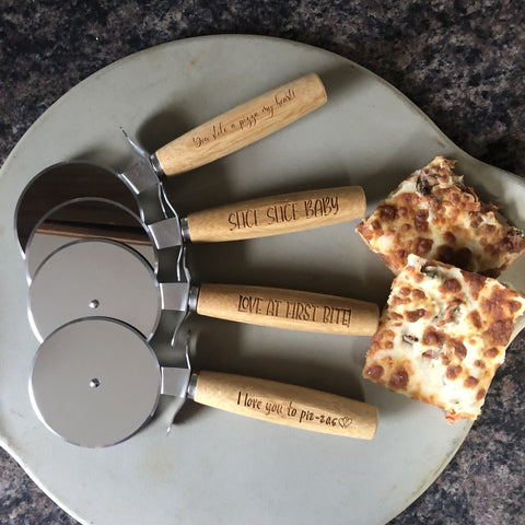 Engraved Wooden Pizza Cutter. Personalized Pizza Cutter. - C & A Engraving and Gifts