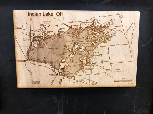 Indian Lake Ohio Engraved Map Wooden Magnet. - C & A Engraving and Gifts