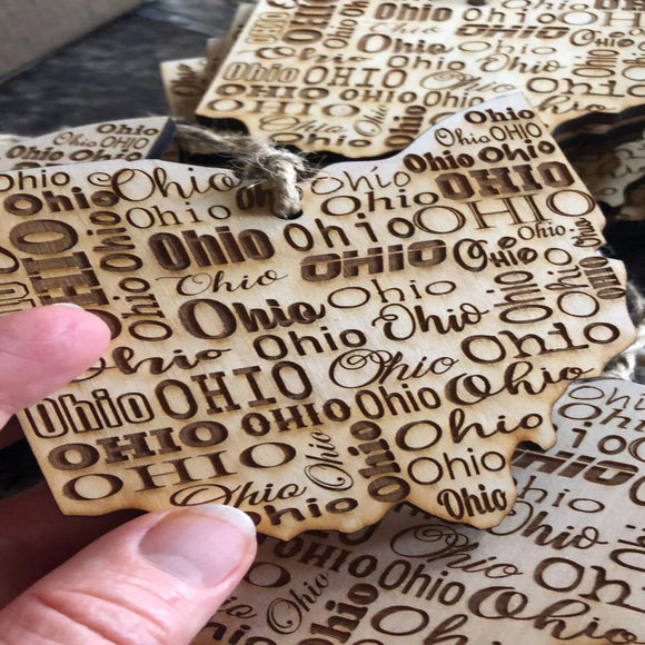 Ohio Wooden Ornament. Engraved Ohio Ornament.